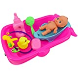 Bathtime Doll Bath Set Mini Whale Bathtub Toy with Baby Doll Pretend Play Bath Toys Games for Kids