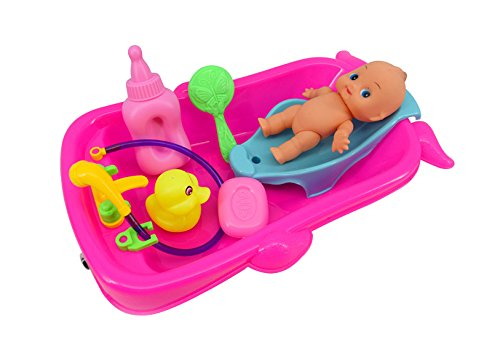 (Bathtime Doll Bath Set Mini Whale Bathtub Toy with Baby Doll Pretend Play Bath Toys Games for Kids)