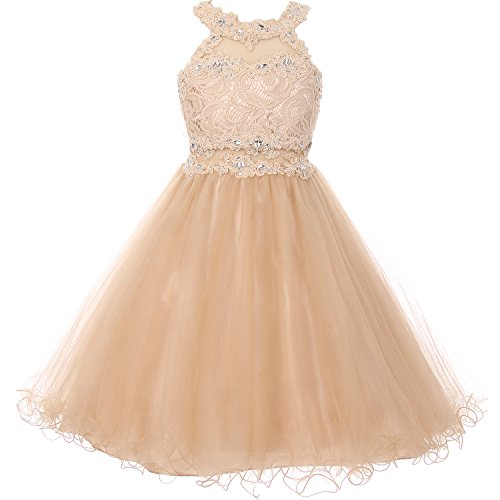 Bodice Halter Dress - Big Girls Short Length Dazzling Halter-Neck Hand Beaded Rhinestones Bodice Wired Tulle Skirt Flower Girl Dress Champagne - Size 8