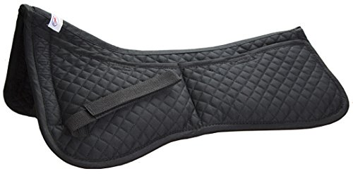Derby Originals Contoured Correction All Purpose Quilted English Half Saddle Pad with Therapeutic Removable Support Memory Foam Pockets for all -