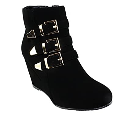 Women's Paola-95 Tri-Straps Round-Toe Wedge Heel Ankle Booties