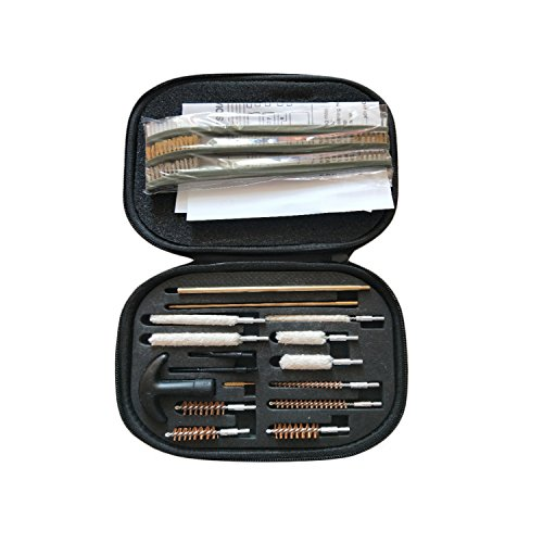 Neato Tek 17 Pack Universal Pistol Gun Cleaning Kit, Shotgun Cleaning Kits, 9mm 22 357 30 38 40 44 45 Hand Guns with Black Carrying Case