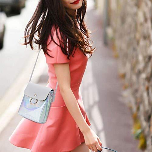 Para Forma Mujer Accesorios Bolsa Con Baachang Bandolera Cuero Pu Mujeres Bolso De Hombro Gray Cubo Inclinada color Equipaje Pink HwwqIApROx