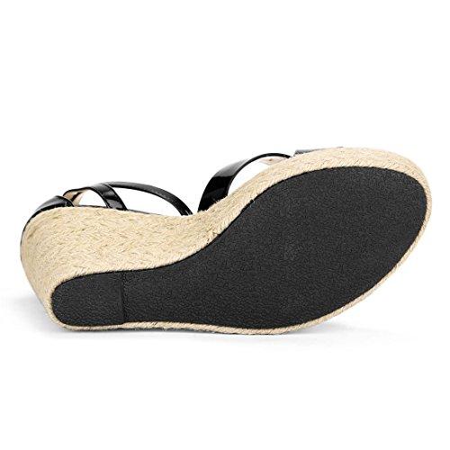 Black K Wedges Ankle Espadrille Strap Women Allegra YqpdY