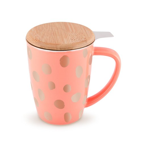 Pinky Up 5037 Bailey Peach & Copper Ceramic Tea Infuser Mug Cup Deal (Large Image)
