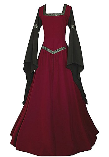 Misassy Womens Medieval Dress Renaissance Costumes Irish Over Long Dress Cosplay Retro Gown