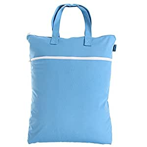 Teamoy Travel Hanging Wet Dry Bag (17.3×13.4 inches) for Cloth Diapers Dirty Clothes Organizer Tote Bag, Blue