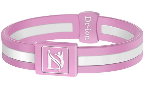 Dr-ion Negative Ion Performance/Power Wristband of Single-Tone Design (Pink/White) (S, Pink/White)