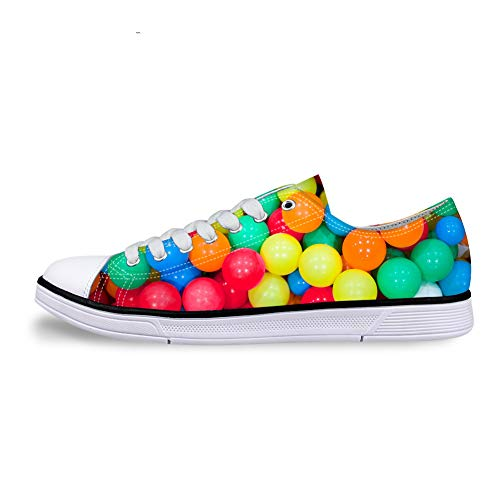 whsplaza Low-end Anti-Slip Casual Sneakers 3D Design Canvas Shoes with Colorful Candy for Men Women.]()