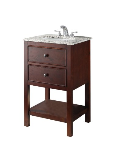 Simpli Home NL-HHV022H-20-2A Burnaby 20 inch Contemporary Bath Vanity in Walnut Brown  with Dappled Grey Granite Top