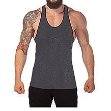 Q&Y Men's Cotton Blank Stringer Y Back Cotton Workout Stringer Gym Tank Tops Heather Grey XXL