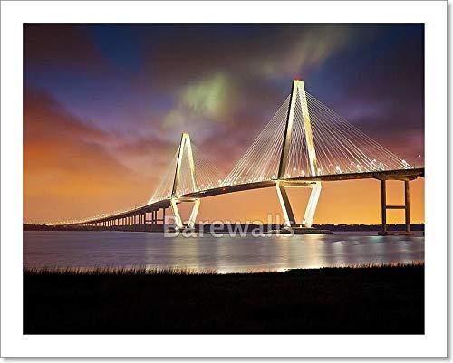 Arthur Ravenel Jr Cooper River Suspension Bridge Charleston Sc from Patriots Point South Carolina Paper Print Wall Art (8 in. x 10 in.)