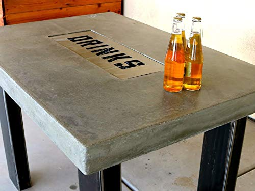 Concrete Countertop Table With Drink Tray (Cover Steel Patio Frame)