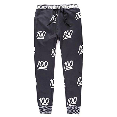 Unisex Hipster 100 Score Emoji 3D Sweatpants joggers Sportwear White