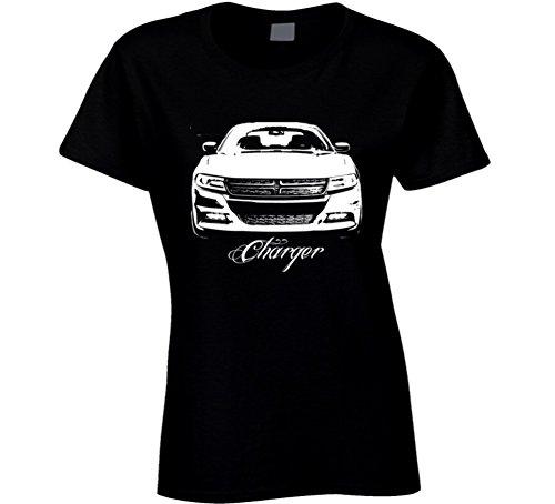 2015 Dodge Charger Grill Model Dark Color Ladies Fit Shirt. S Black