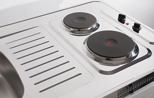 Miniküche 100 Cm Mit Kühlschrank : Mebasa mk0001 pantryküche miniküche 100 cm weiß mit duokochfeld und