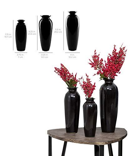 (Midnight Black Color Set of 3 Pcs Table Vases Flower Pot Bottle Flask Carafe Decoration Home Decor Fill Put Design Flora Blossom Pottery Ceramic Modern Living Room Bathroom Kitchen Bedroom Office)