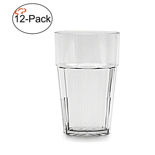 (Tiger Chef Premium Quality, 12-ounce, Clear Glass Like Unbreakable Plastic Tumbler Set, Diamond Stackable Tumblers Dishwasher Safe (12-Pack))