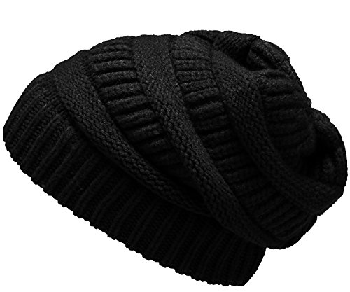 NEOSAN Womens Men Knit Winter Stretch Thick Slouch Beanie Hats Chunky Skull Caps Solid Black - Stretch Winter Cap