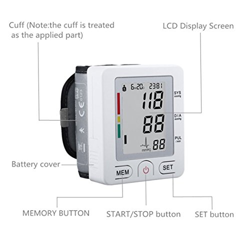 VALLENN Portable Wrist Blood Pressure Monitor FDA Approved with Large Display, Two User Modes, Adjustable Wrist Cuff,IHB Indicator and 90 Memory Recall--White
