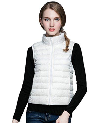 Compresible Mujer Cortas Abrigo Sin Blanco Chaqueta Mangas Pluma Soporte Collar Baymate Chalecos De Plumón Chaquetas Del PWnd1UUaqw