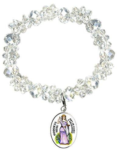 Goddess Hera Gift of Family Silver Charm Crystal Bracelet