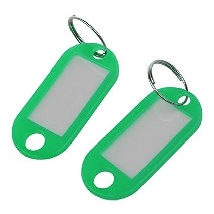 . SODIAL 20 Pcs Etiquette dID de cle assortie Etiquettes anneau fendu Porte-cles Trousseau Vert