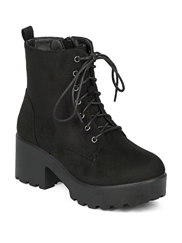 Indulge Mode-05 Women Faux Suede Lace up Platform Lug Sole Block Heel Ankle Boot HE16 - Black Faux Suede (Size: ()