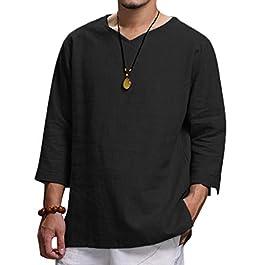UJUNAOR Men's Plus Size Linen Top Comfortable Summer New Solid Three Quarter Sleeve T-Shirts