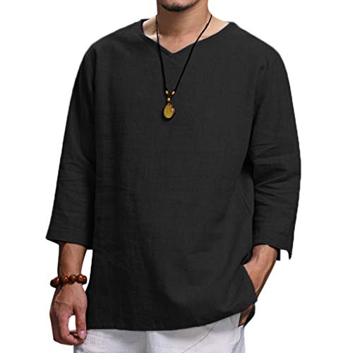 Men's Summer T-Shirt Cotton Linen Hippie Shirts V-Neck Beach Yoga Tee Top Blouse (XL, Black)