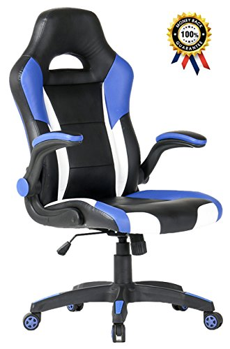 SEATZONE Racing Car Style Bucket Seat Gaming Chair, Curved High-Back Executive Swivel Office Leather Chair, Adjustable Computer Chair with Flip-Up Armrest (Blue&White) For Sale
