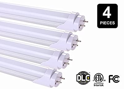 T8 LED Light Tube, 2 Feet, 8 Watt (20 Watt Equivalent), G-13 Base, 4100k Neutral White, Single Ended Power - 4 Pack