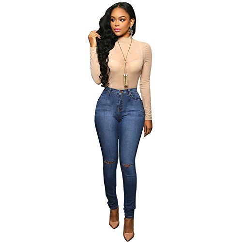 Sexy Women Elastic Butt Lift High waisted Casual Denim Ripped Holes Skinny Jeans (M, Dark blue+Ripped - Cotton Belt Tiger