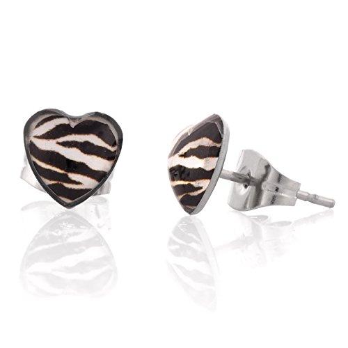 Zebra Earrings (Fun Heart Shape Stud Bling Earrings for Women and Girls (Zebra))