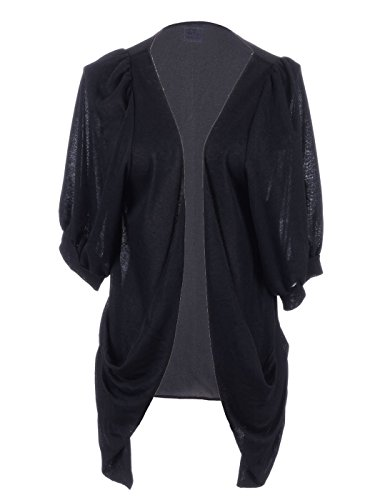 Anna-Kaci S/M Fit Black Blousen Three Quarter Sleeve Pointed Ruche Hem Cardigan