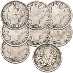 U.S. Liberty Head (Barber) Nickels - 7 Coin Grab Bag ()