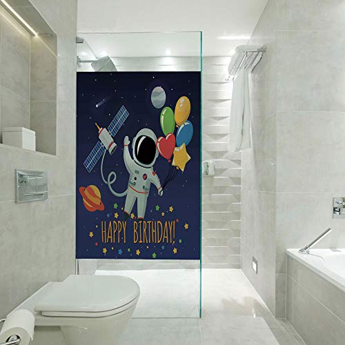 RWNFA DIY Home Decoration Glass Stickers Window Film,Space Lover Astronaut with Party Balloon on Blue Backdrop,Customizable Size,Suitable for Bathroom,Door,Glass etc,Multicolor