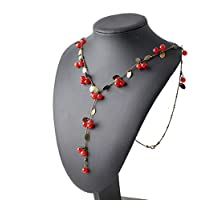New Retro Vintage Women Necklace Red Cherries Pendant Party Sweater Chain