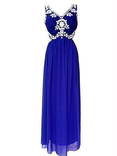 Mujer Adornado Vestido Maxi Azul Vestido De Noche Azul