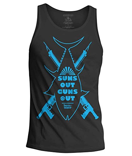 Born of Water Spearfishing/Scuba Diving Tank Top: Suns Out Guns Out Apparel - Freedive | Scuba Dive | Spearfish - Gray - L