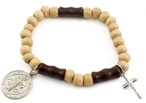 (Nazareth Store Catholic Bracelet Saint Benedict Medal Wood Beads with Cross Crucifix Womens Men Bangle)