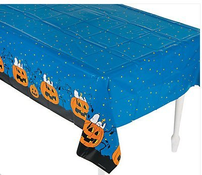 Peanuts® Halloween Tablecloth. A Must-have Addition to Your Party Supplies, This Plastic Tablecloth Is Printed in a Halloween Theme with Snoopy and Woodstock Hanging Out with Some Pumpkins.
