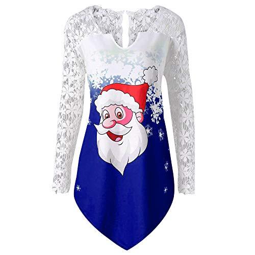 Missli Women's Christmas Tops Lace Panel Santa Claus