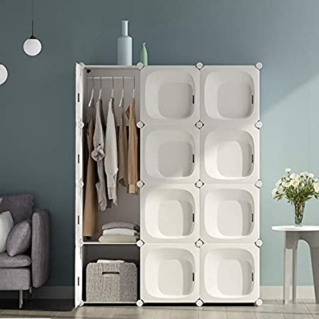 Armadio Camera da Letto Armadio Guardaroba Organizer Armadio Bianco 12 Cubi Arredo Scatole per Vestiti Mobiletto Ingresso Moderno con Asta Sospesa