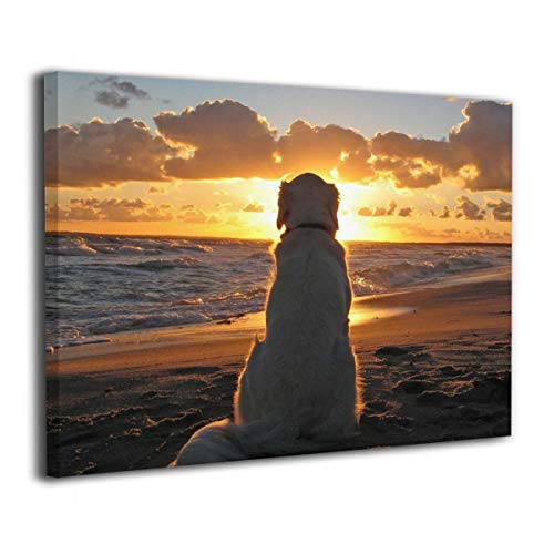 Feim-AO Golden Retriever at Sunset Canvas Prints Wall Art Painting Ready to Hang 16