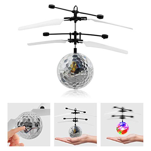 Geekercity Mini Flying RC Drone Helicopter Infrared Induction LED Remote Ball Mini Aircraft Toys for Kids Teenagers…