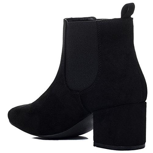 Spylovebuy Boots Talon Bloc Chelsea Simili Noir À Bottines Femmes Daim Spyflame OYqwx6ZBOr
