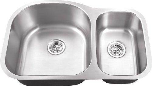 Schon SC703018 Undermount 18-Gauge 70/30 Sink 31 1/2-Inch by 20 1/2-Inch Kitchen Sink, Stainless Steel by Schon by Schon