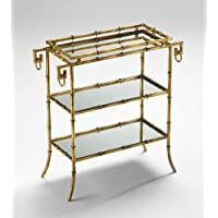 Hollywood Regency Gold Iron Bamboo Mirrored Tray Table