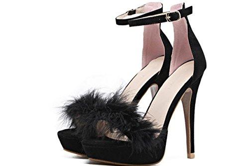 YCMDM DONNE tacco alto Shoe2017 nuovi tacchi alti ultra sottili scarpe di piume impermeabili sandali sexy scarpe singolo , black (usa) , 5
